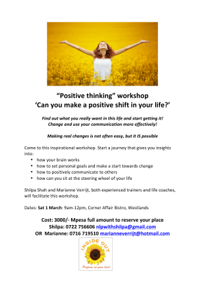 Positive Thinking mini workshop March 14